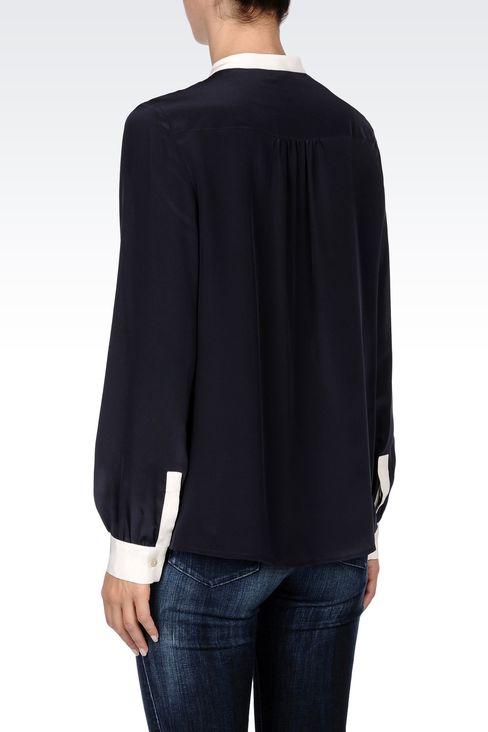 SILK BLOUSE WITH MANDARIN COLLAR: Long sleeve shirts Women by Armani - 3