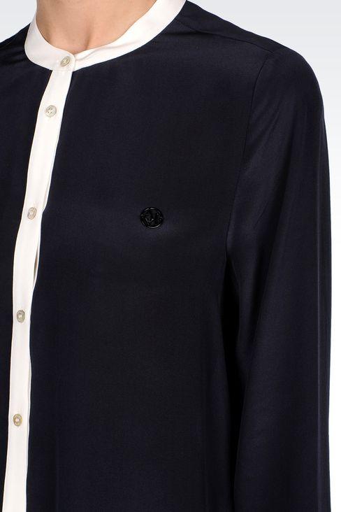 SILK BLOUSE WITH MANDARIN COLLAR: Long sleeve shirts Women by Armani - 4