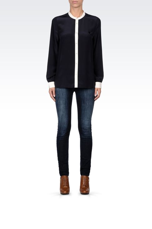SILK BLOUSE WITH MANDARIN COLLAR: Long sleeve shirts Women by Armani - 1