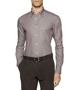 ERMENEGILDO ZEGNA: Casual Shirt Grey - Brown - 38331079CH