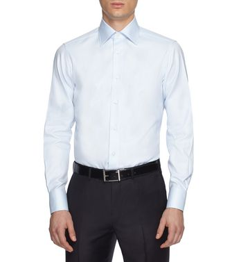 ERMENEGILDO ZEGNA: Formal Shirt Khaki - Blue - 38352072VQ