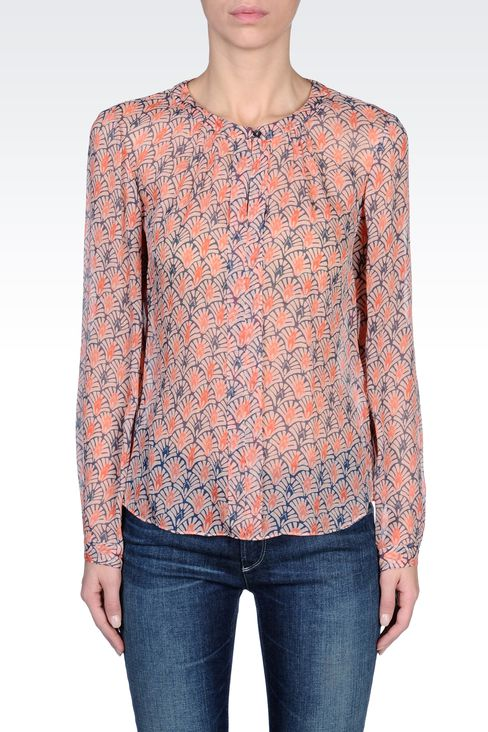 CRÊPE SILK BLOUSE WITH FLORAL PRINT: Blouses Women by Armani - 2