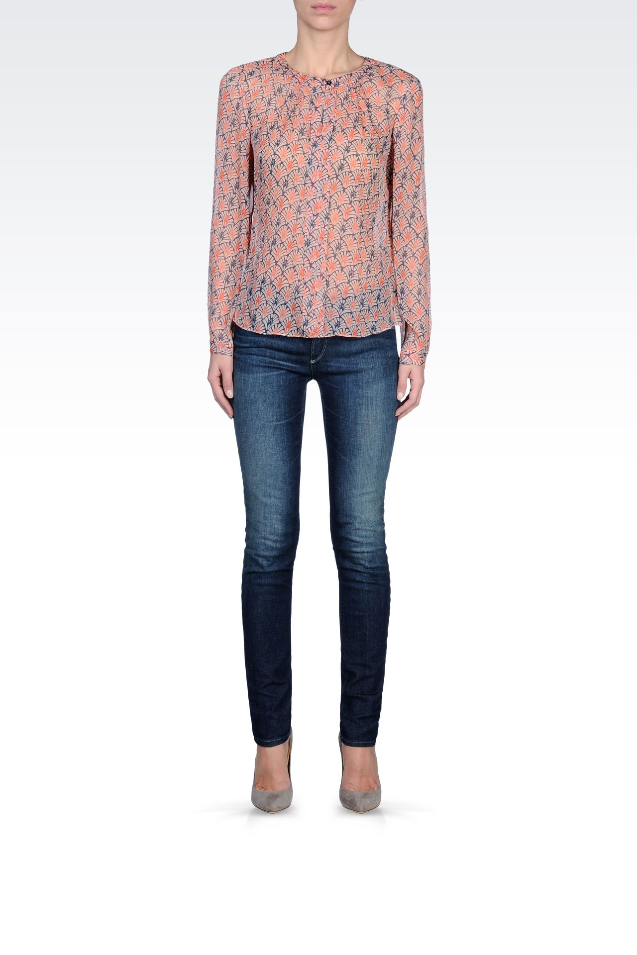 CRÊPE SILK BLOUSE WITH FLORAL PRINT: Blouses Women by Armani - 0