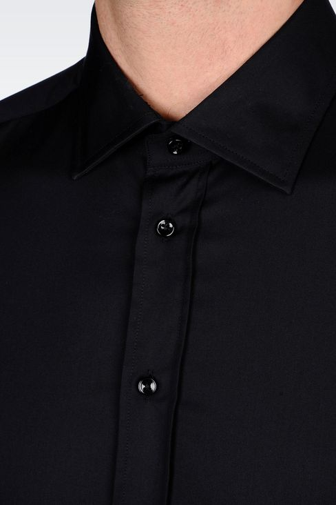STRETCH COTTON SHIRT WITH FRENCH COLLAR: Long sleeve shirts Men by Armani - 5