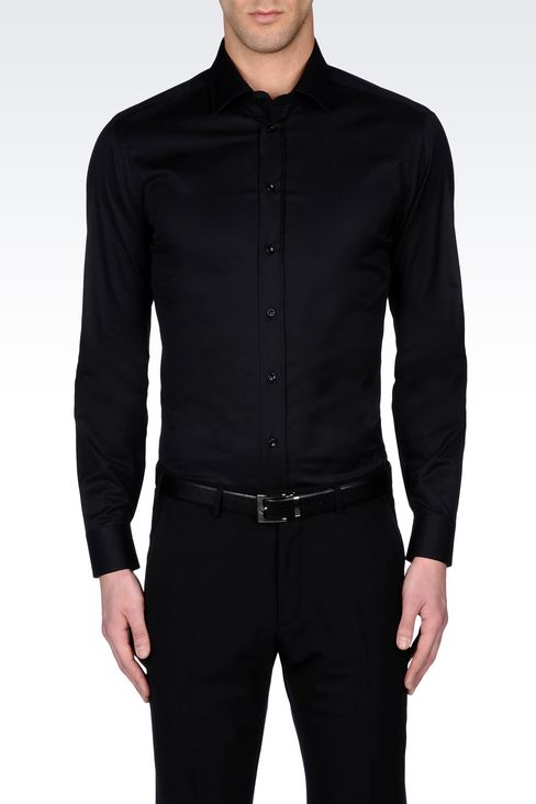 STRETCH COTTON SHIRT WITH FRENCH COLLAR: Long sleeve shirts Men by Armani - 3