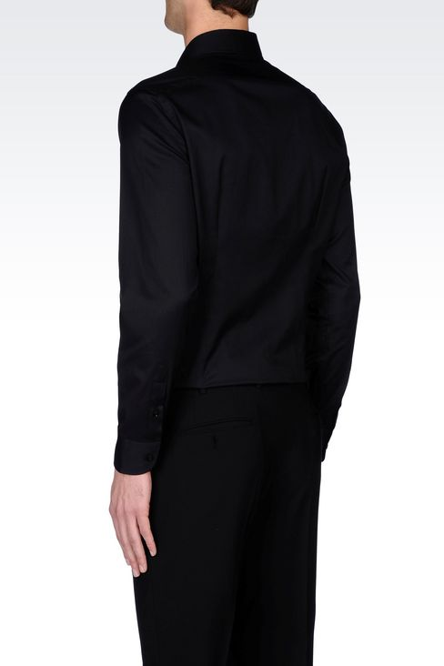 STRETCH COTTON SHIRT WITH FRENCH COLLAR: Long sleeve shirts Men by Armani - 4
