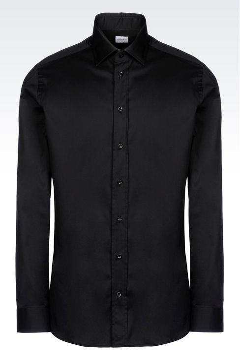 STRETCH COTTON SHIRT WITH FRENCH COLLAR: Long sleeve shirts Men by Armani - 1