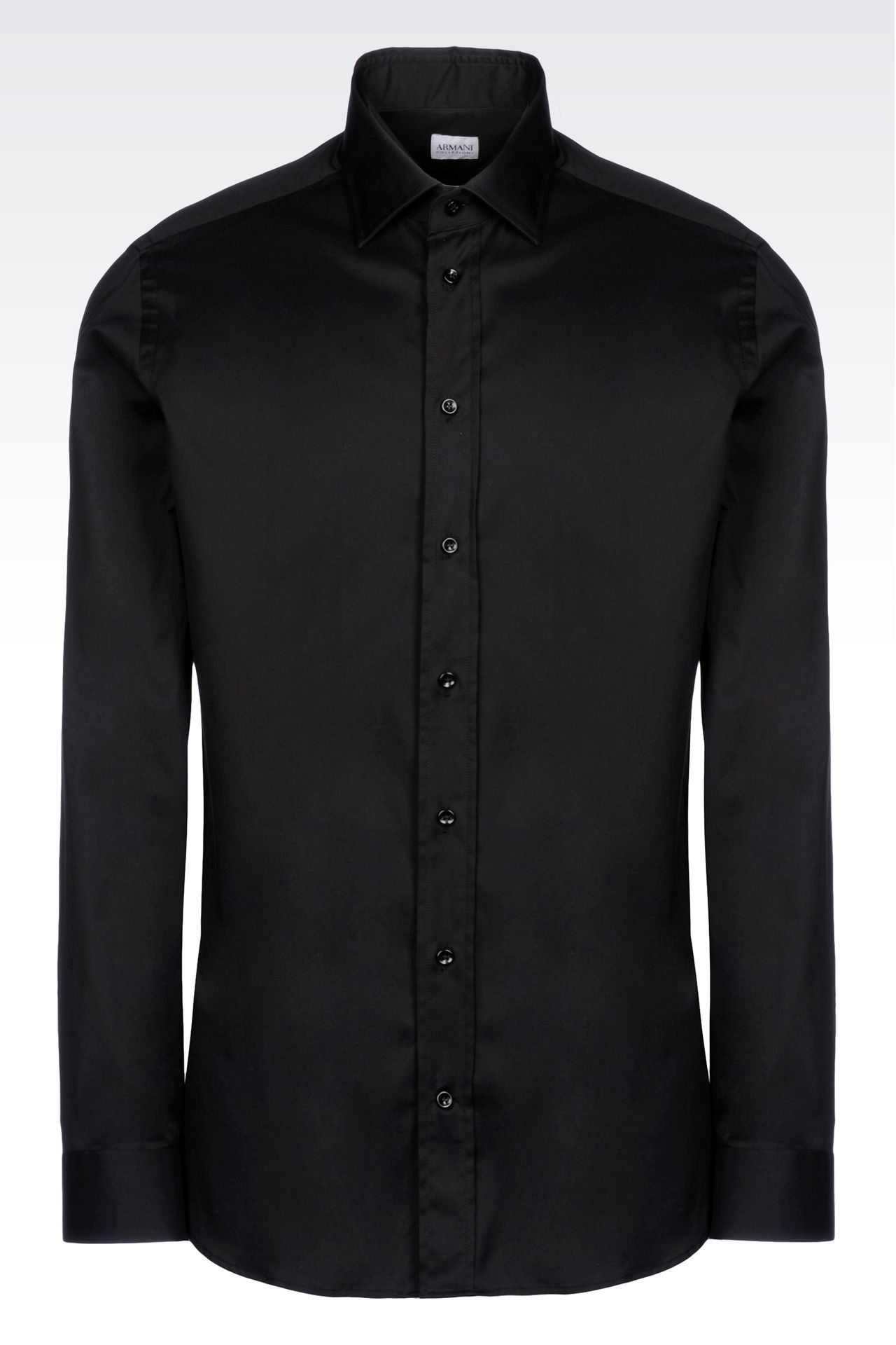 STRETCH COTTON SHIRT WITH FRENCH COLLAR: Long sleeve shirts Men by Armani - 0