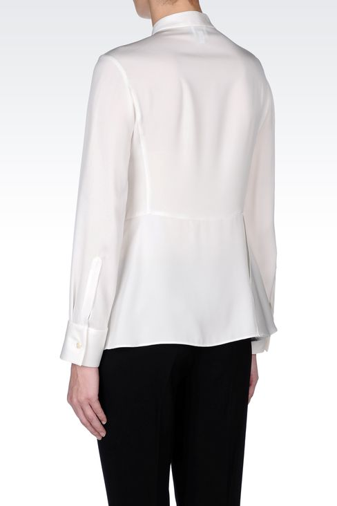STRETCH CADY SHIRT WITH MANDARIN COLLAR : Long sleeve shirts Women by Armani - 3