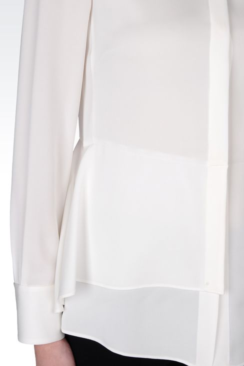 STRETCH CADY SHIRT WITH MANDARIN COLLAR : Long sleeve shirts Women by Armani - 4