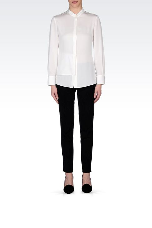STRETCH CADY SHIRT WITH MANDARIN COLLAR : Long sleeve shirts Women by Armani - 1
