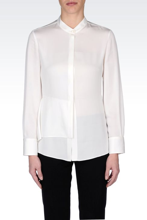STRETCH CADY SHIRT WITH MANDARIN COLLAR : Long sleeve shirts Women by Armani - 2