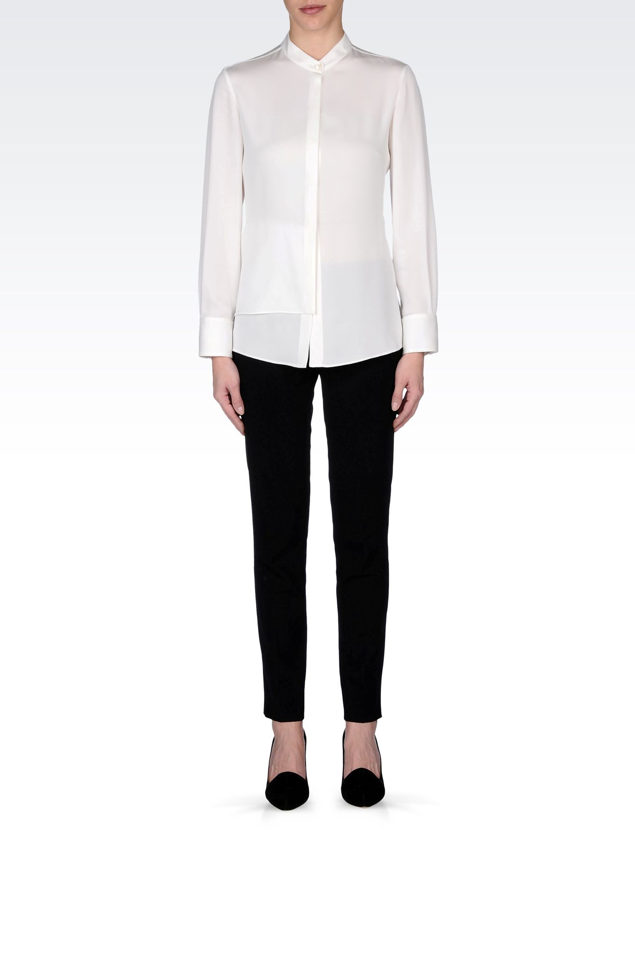 STRETCH CADY SHIRT WITH MANDARIN COLLAR : Long sleeve shirts Women by Armani - 0