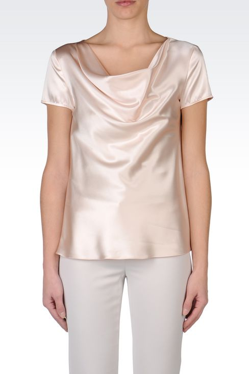 SATIN TOP WITH DRAPED NECKLINE: Short-sleeved tops Women by Armani - 3