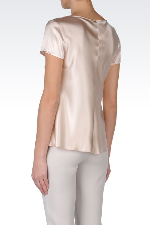 SATIN TOP WITH DRAPED NECKLINE: Short-sleeved tops Women by Armani - 4