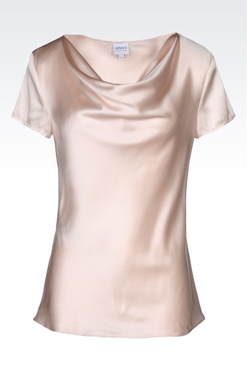SATIN TOP WITH DRAPED NECKLINE: Short-sleeved tops Women by Armani - 1