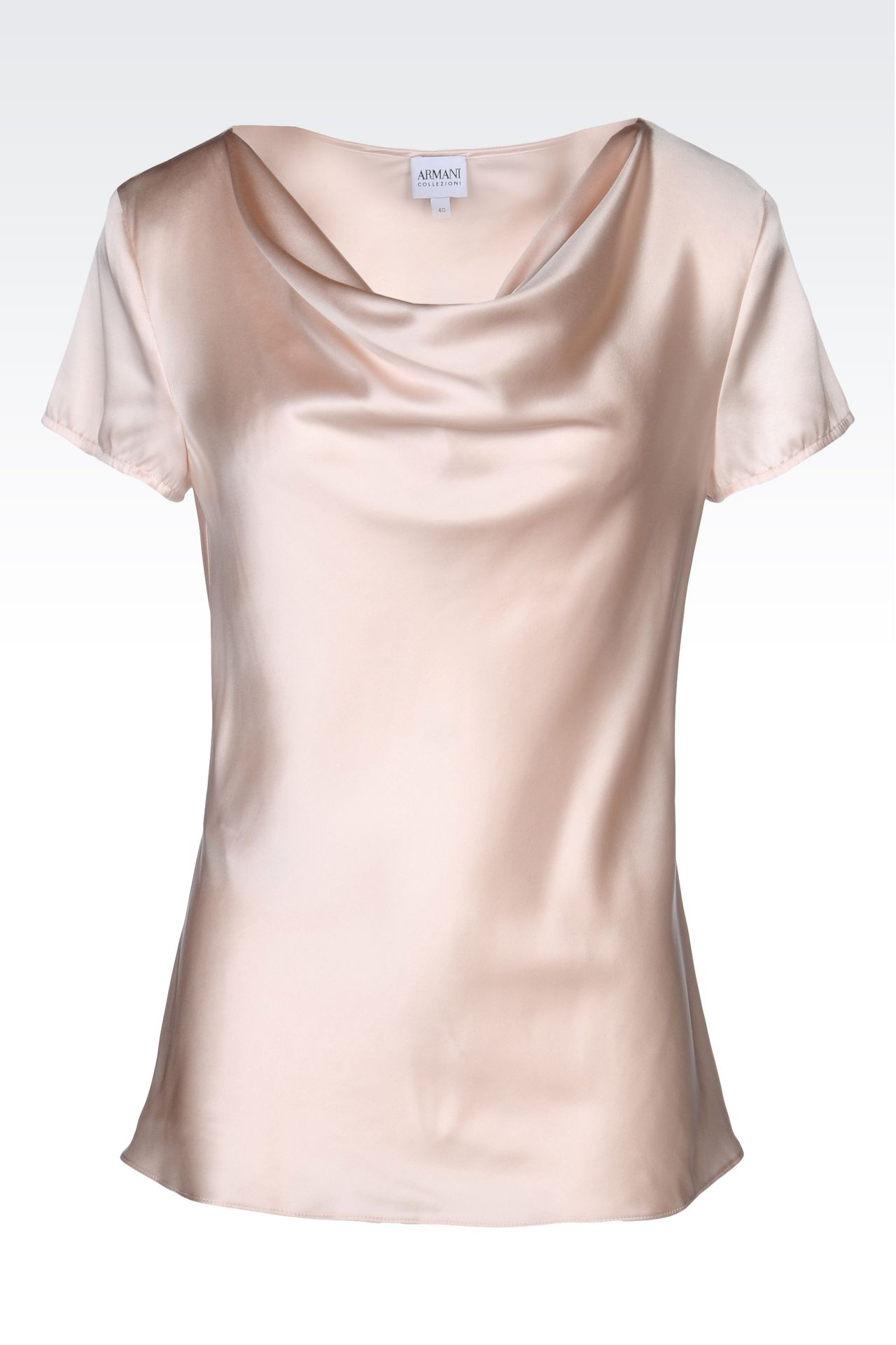 SATIN TOP WITH DRAPED NECKLINE: Short-sleeved tops Women by Armani - 0