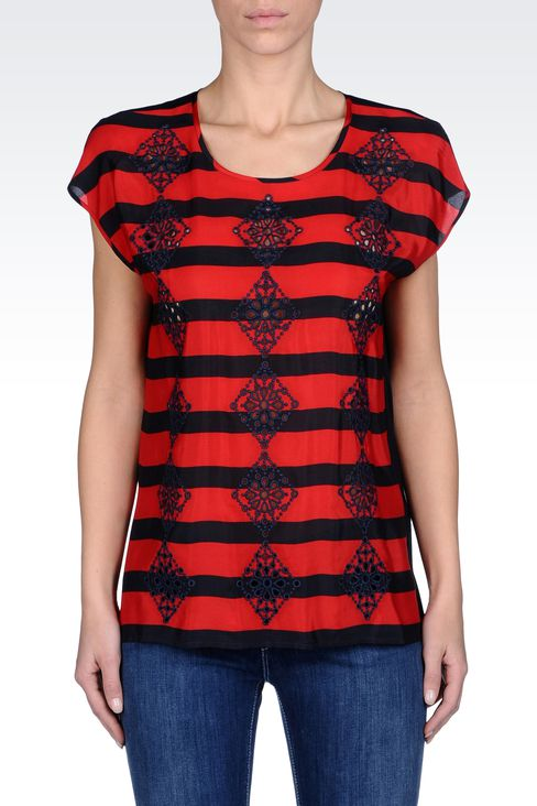 BLOUSE IN SILK AND JERSEY WITH EMBROIDERY: Short-sleeved tops Women by Armani - 2