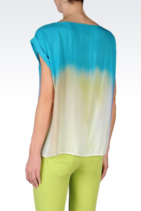 VISCOSE TIE DYE EFFECT BLOUSE: Short-sleeved tops Women by Armani - 3