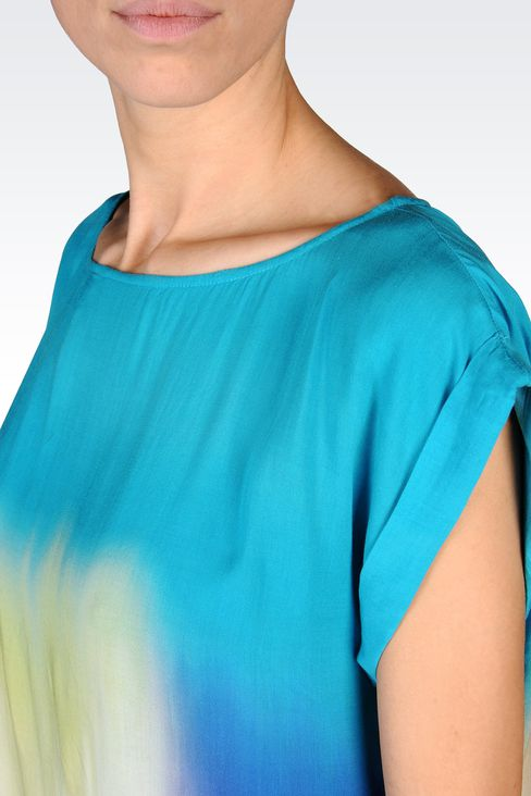 VISCOSE TIE DYE EFFECT BLOUSE: Short-sleeved tops Women by Armani - 4