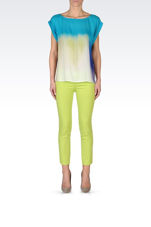 VISCOSE TIE DYE EFFECT BLOUSE: Short-sleeved tops Women by Armani - 1