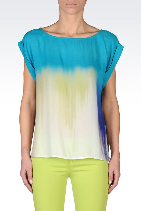 VISCOSE TIE DYE EFFECT BLOUSE: Short-sleeved tops Women by Armani - 2