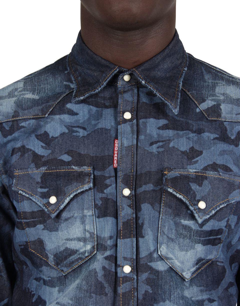 western shirt chemise en jean homme dsquared2 boutique en ligne officielle. Black Bedroom Furniture Sets. Home Design Ideas