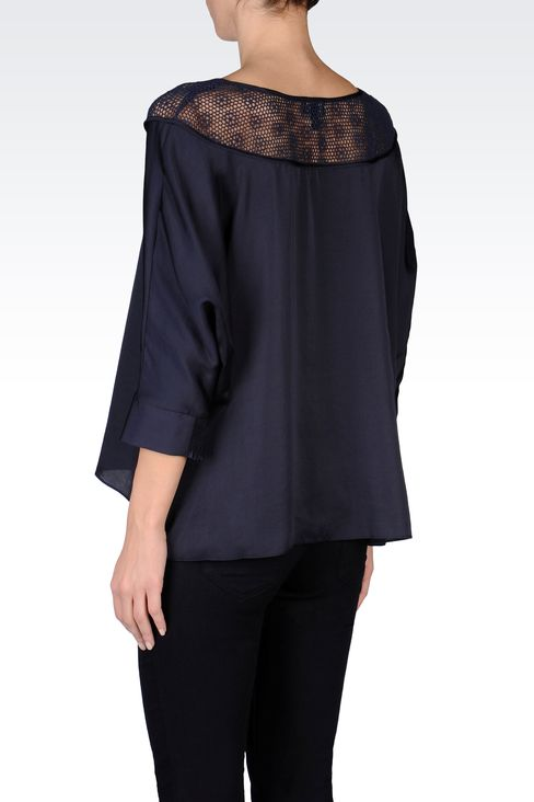SATIN BLOUSE WITH LACE EMBROIDERY: Blouses Women by Armani - 3