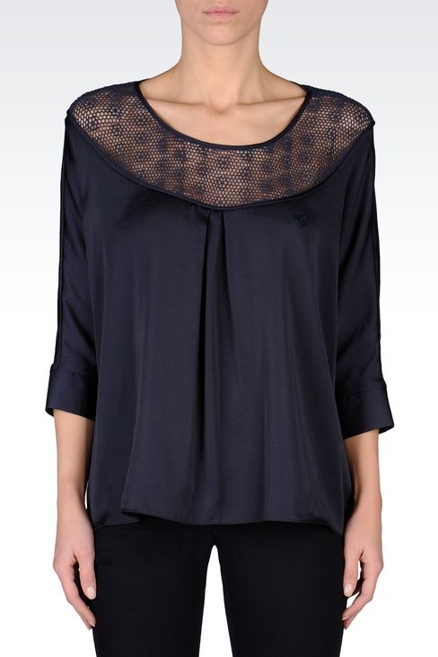 SATIN BLOUSE WITH LACE EMBROIDERY: Blouses Women by Armani - 2