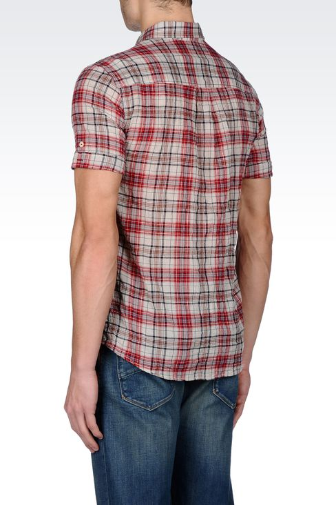 CHECKED COTTON BUTTON-DOWN SHIRT: Short sleeve shirts Men by Armani - 3