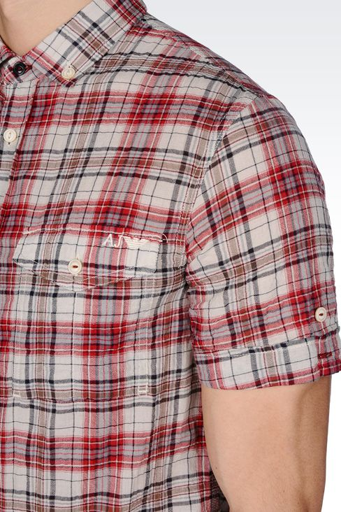 CHECKED COTTON BUTTON-DOWN SHIRT: Short sleeve shirts Men by Armani - 4
