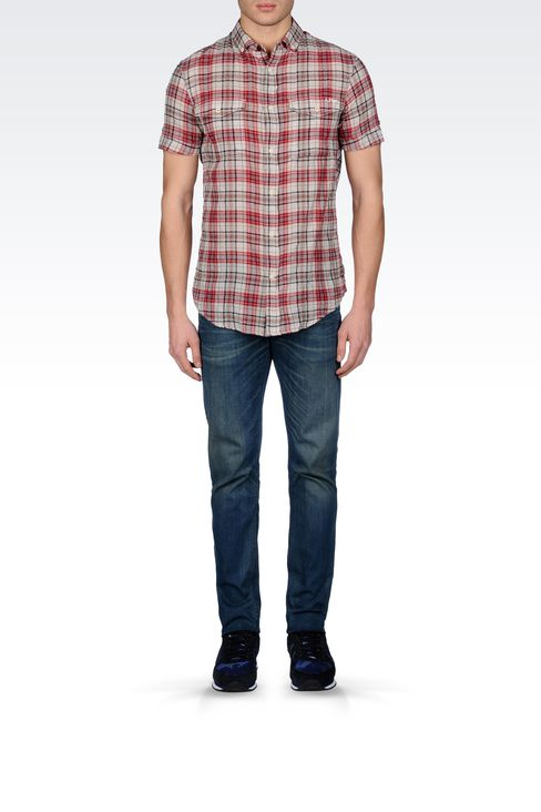 Armani Jeans Men CHECKED COTTON BUTTON-DOWN SHIRT - Armani.com