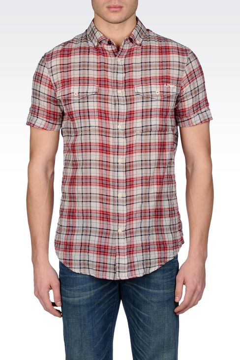 CHECKED COTTON BUTTON-DOWN SHIRT: Short sleeve shirts Men by Armani - 2