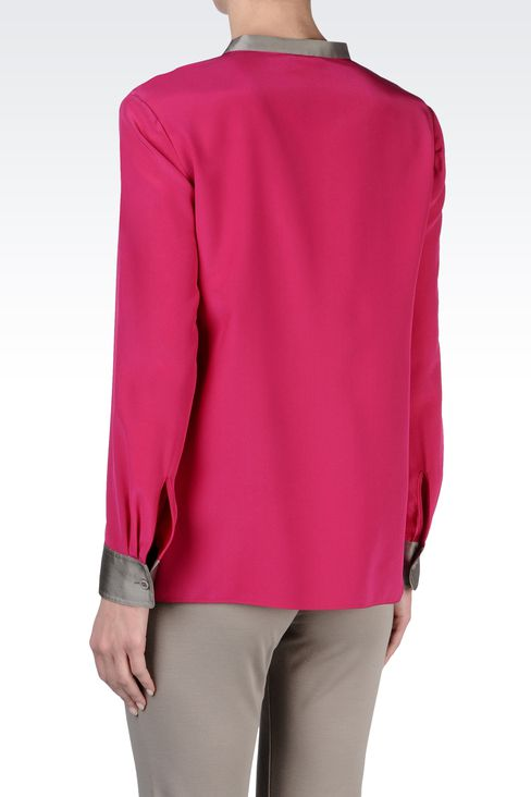 SILK BLOUSE WITH BIB FRONT: Blouses Women by Armani - 3