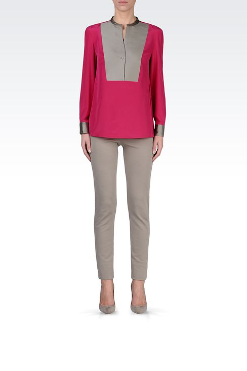 SILK BLOUSE WITH BIB FRONT: Blouses Women by Armani - 1