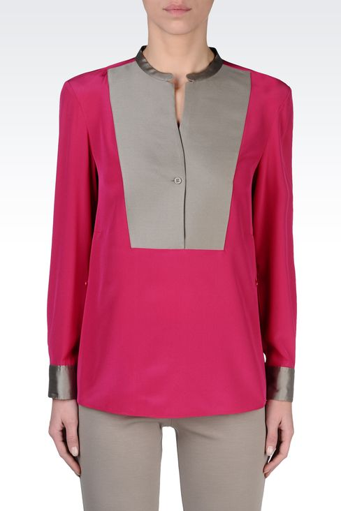 SILK BLOUSE WITH BIB FRONT: Blouses Women by Armani - 2