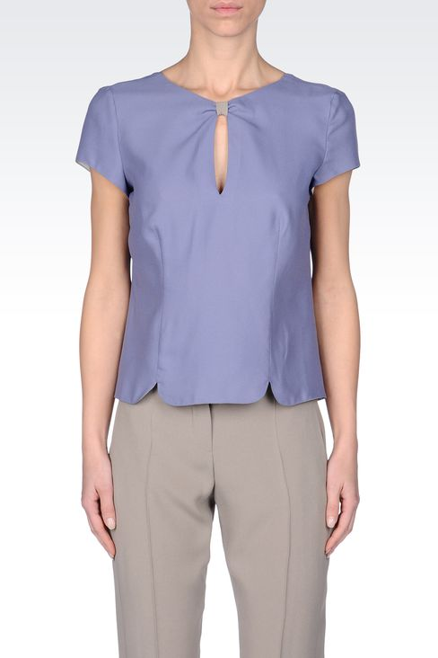 BLOUSE IN CRÊPE GEORGETTE : Blouses Women by Armani - 2