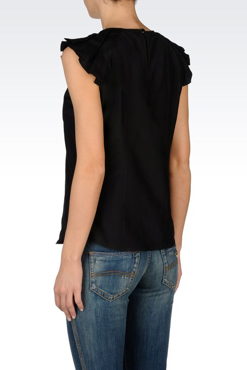 BLOUSE WITH SHORT PLEATED SLEEVES: Blouses Women by Armani - 3