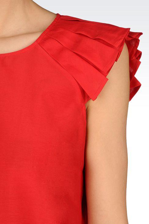 BLOUSE WITH SHORT PLEATED SLEEVES: Blouses Women by Armani - 4