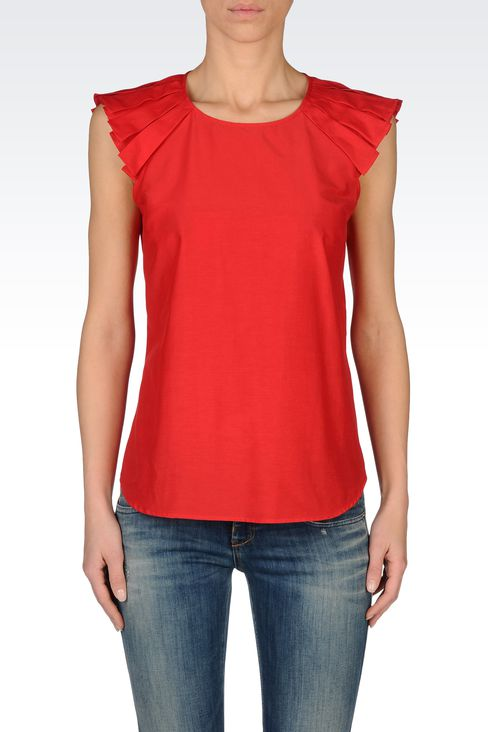 BLOUSE WITH SHORT PLEATED SLEEVES: Blouses Women by Armani - 2