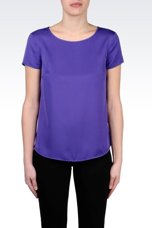 STRETCH SILK BLOUSE: Blouses Women by Armani - 3