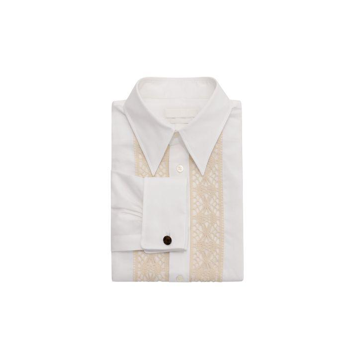 Alexander McQueen, Lace Stripe Cotton Silk Shirt