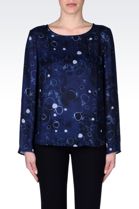BLOUSE IN PRINTED SILK: Blouses Women by Armani - 3