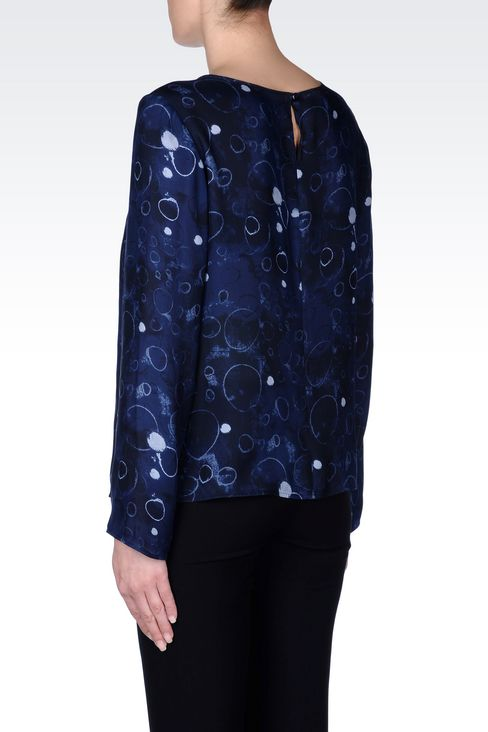 BLOUSE IN PRINTED SILK: Blouses Women by Armani - 4