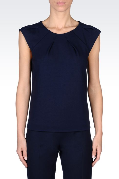 T-SHIRT IN MODAL WITH DARTS: Sleeveless tops Women by Armani - 3
