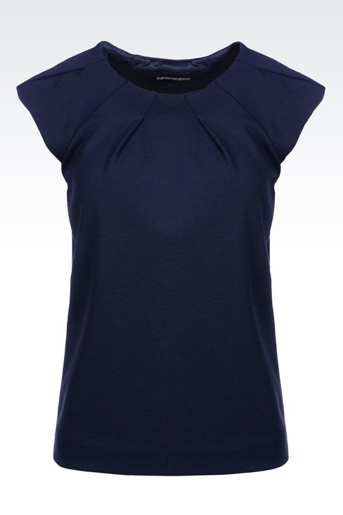 T-SHIRT IN MODAL WITH DARTS: Sleeveless tops Women by Armani - 1
