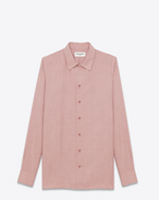 Requin Collar Shirt in Rose Sketched Square Printed Viscose