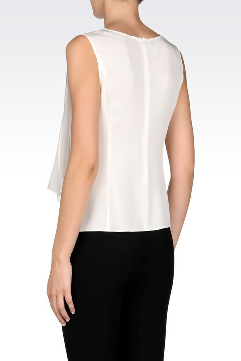 TOP IN CRÊPE DE CHINE: Sleeveless tops Women by Armani - 4