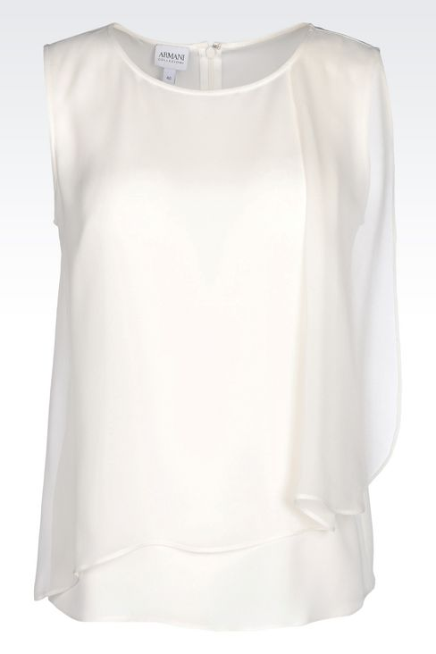 TOP IN CRÊPE DE CHINE: Sleeveless tops Women by Armani - 1