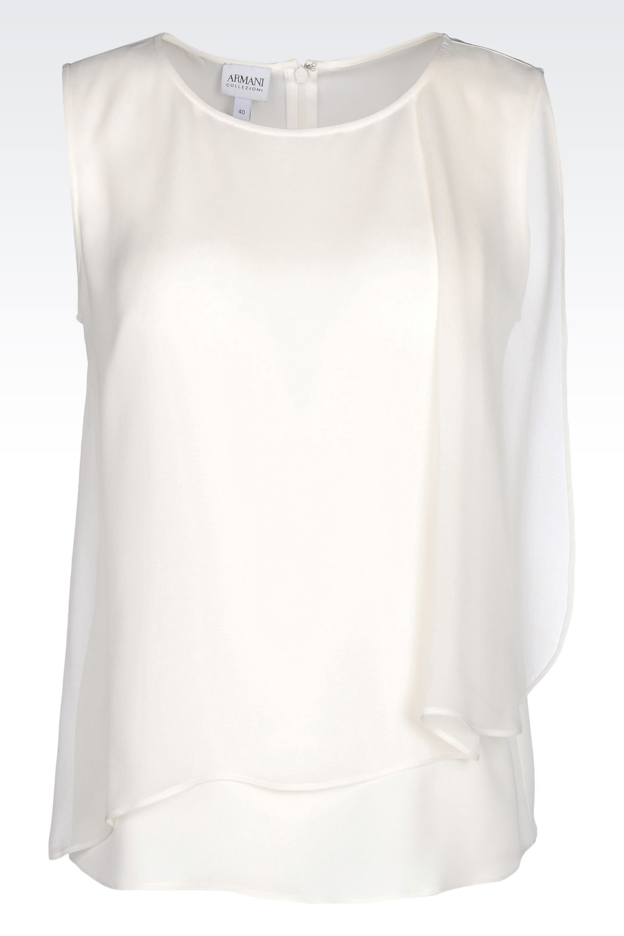 TOP IN CRÊPE DE CHINE: Sleeveless tops Women by Armani - 0